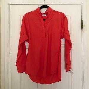 Akris Punto orange button blouse size 2